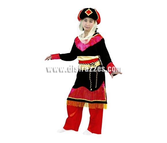 Disfraz de Paje Real o Princesa Árabe para Carnaval y para Navidad barato. Talla de 7 a 9 años. Incluye turbante, vestido, cinturón, cordón y pantalones. Disfraz de Paje Real para Cabalgatas de Reyes Magos de niña.