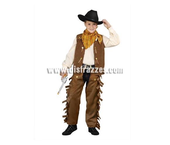Disfraz barato de Vaquero o Pistolero para niños de 7 a 9 años. Incluye pañuelo, chaleco y zahones. El resto de artículos NO están incluidos, podrá verlos en la sección de Complementos.