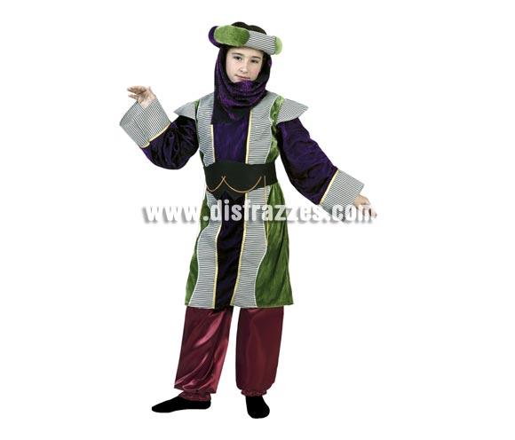 Disfraz de Princesa Árabe o Paje Real para Carnaval o para Navidad barto. Talla de 4 a 6 años. Incluye turbante, vestido, cinturón y pantalones.