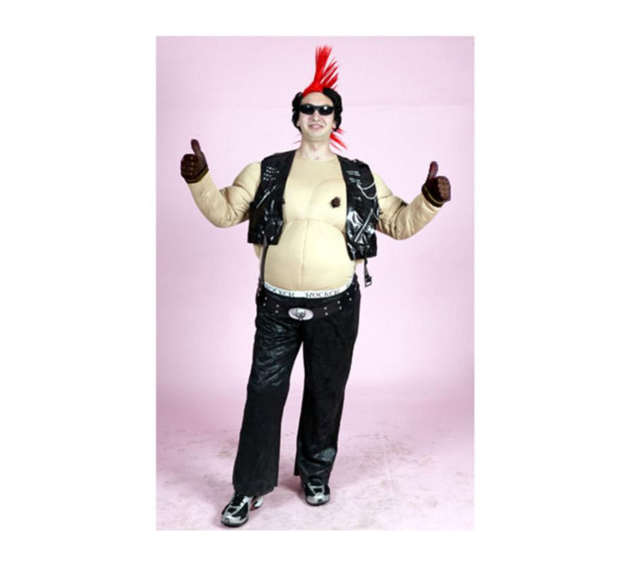Disfraz de Motero Gordo para hombre. Talla M-L = 52/54. Incluye mono, guantes y chaleco. Peluca y gafas NO incluidas, podrás verlas en la sección de Complementos. Disfraz de Punky o Rockero Gordo para hombre.
