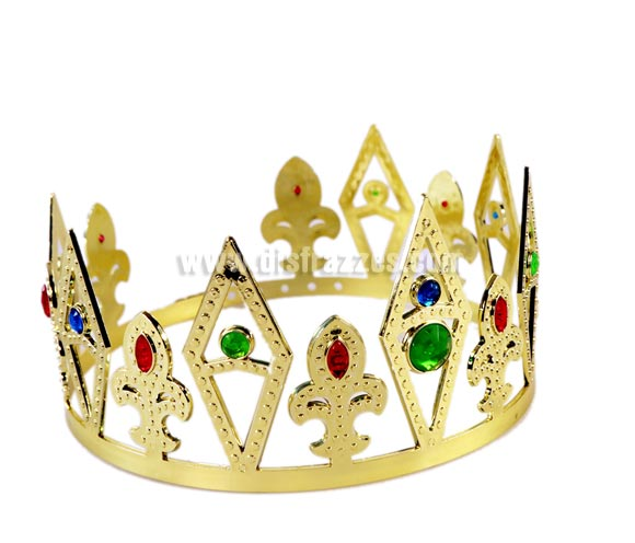 Corona de Rey en oro. Ideal para los disfraces de Rey Mago. Ajustable.