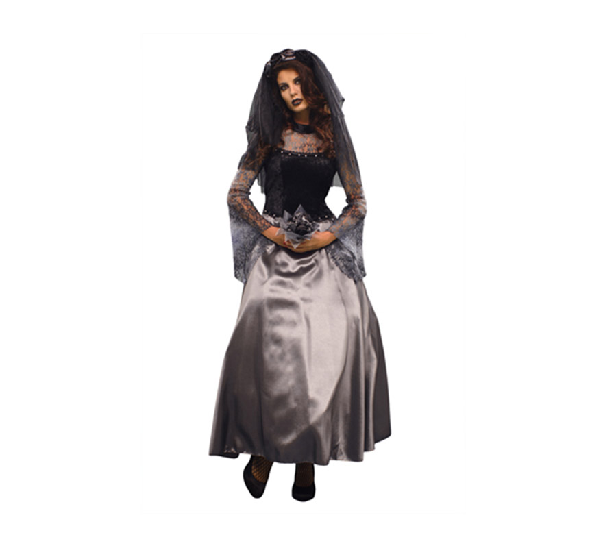 Disfraz de Novia de la Oscuridad adulta para Halloween. Talla Standar M-L 38/42. Disfraz de Novia muerta de buena calidad para Halloween que incluye vestido, velo y ramillete.