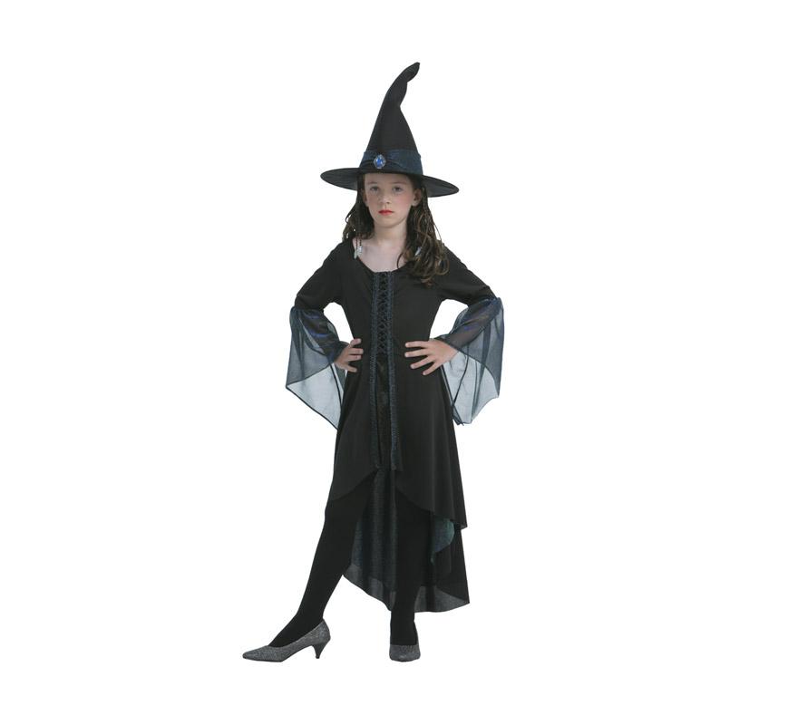 Disfraz de Bruja Brillante infantil para Halloween barato. Talla de 7 a 9 años. Incluye vestido y sombrero.