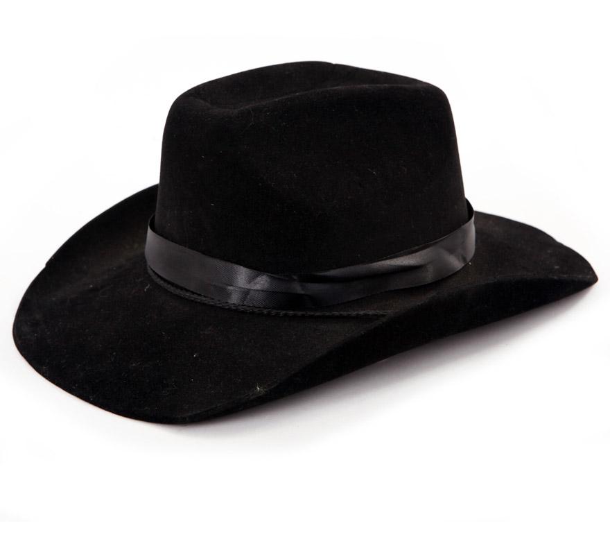 Sombrero Vaquero de eva flocado negro por sólo 2.25 € » Disfraces ... 7fe4d3ade92