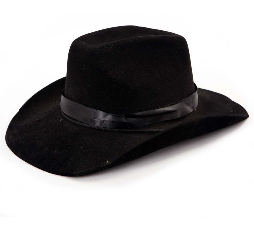 Sombrero Vaquero o Pistolero de eva flocado negro.