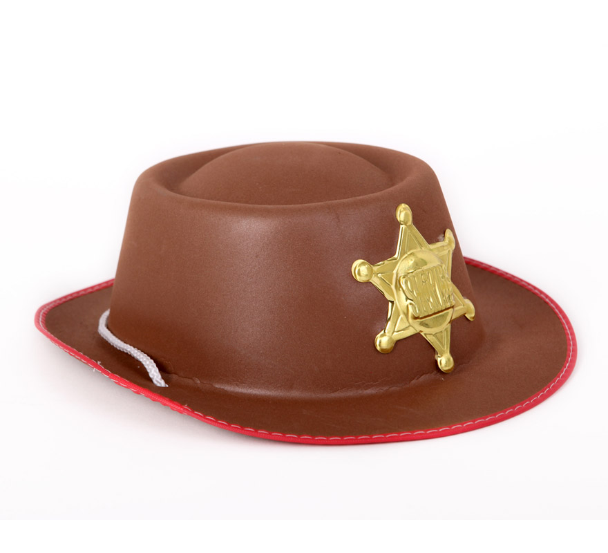 Sombrero Vaquero infantil marrón para Carnaval. Talla universal niños. Ideal como complemento de los disfraces de Sheriff.