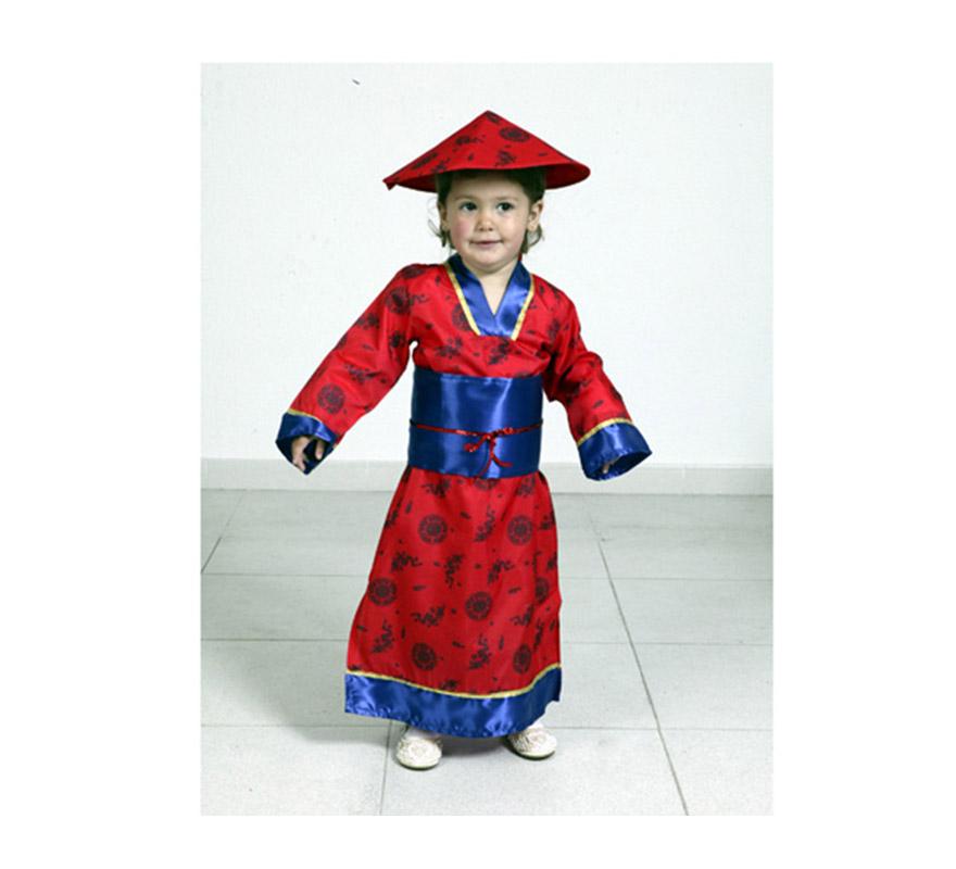 Disfraz de China talla de 3 a 4 años. Incluye sombrero y vestido.