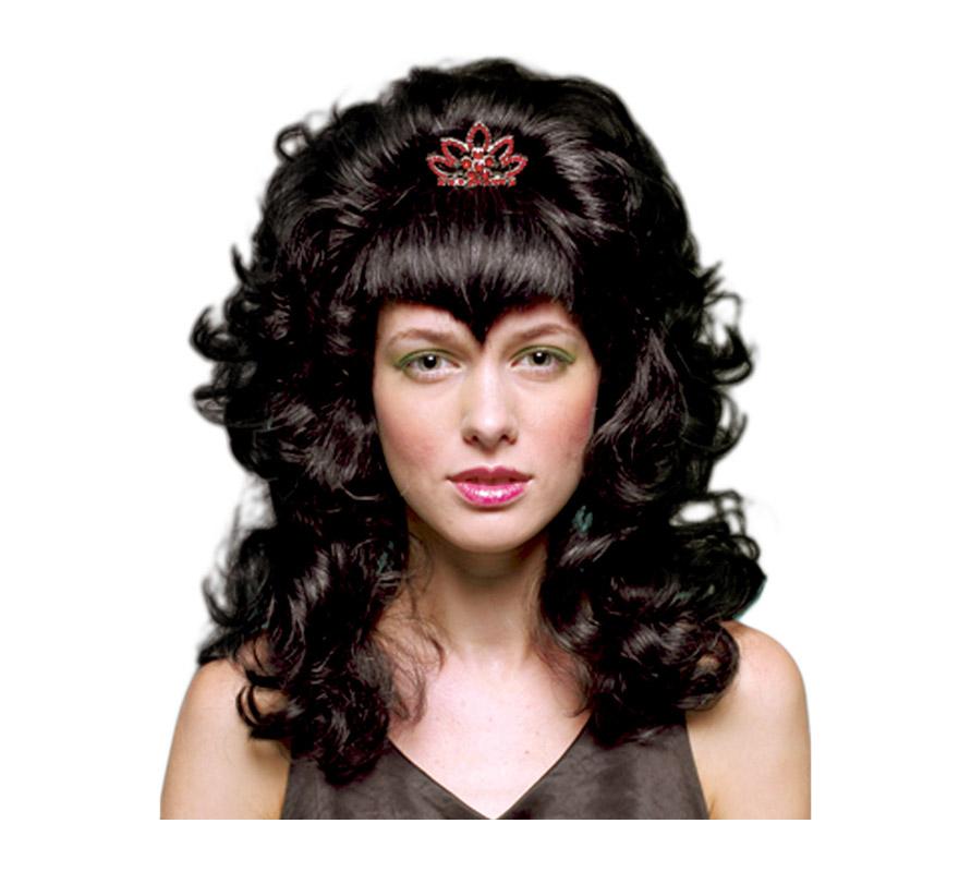 Peluca de Reina Vampiresa ondulada con corona y flequillo.