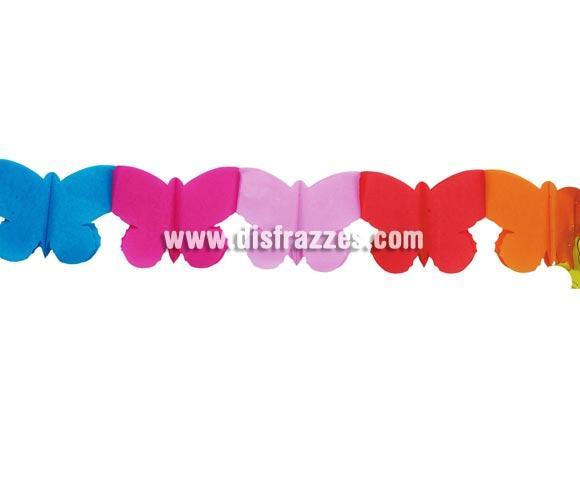 Guirnalda infantil Mariposas de papel fantasía de 20 x 400 cm. Perfecta para decoración en Fiestas de Cumpleaños o para cualquier Fiesta de niños.