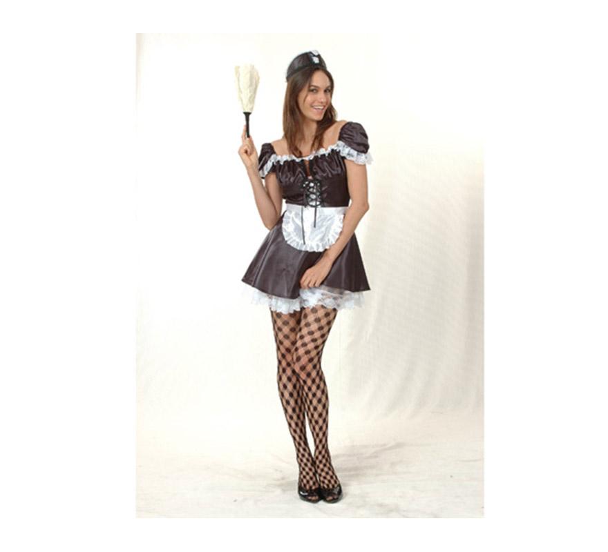 Disfraz de Sirvienta Francesa Sexy adulta. Talla standar M-L =  38/42. Incluye vestido, tocado y delantal. Un disfraz ideal para Despedidas de Soltera.