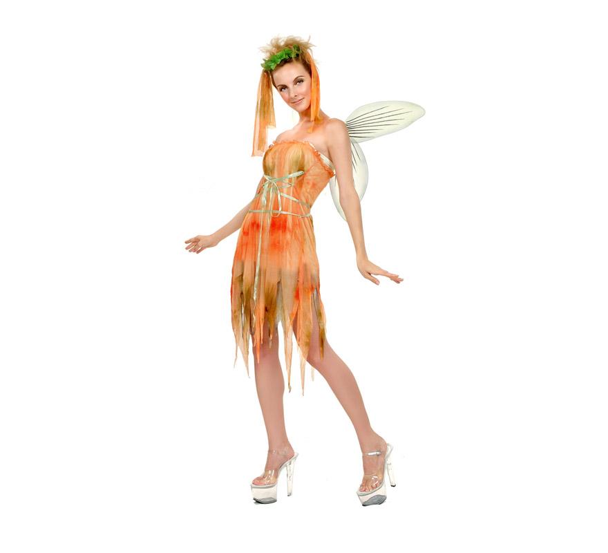 Disfraz barato de Duendecilla del Bosque adulta. Talla standar M-L = 38/42. Incluye vestido, tocado del pelo y alas. Disfraz de Hada para Carnaval o para Cabalgatas de Reyes en Navidad.