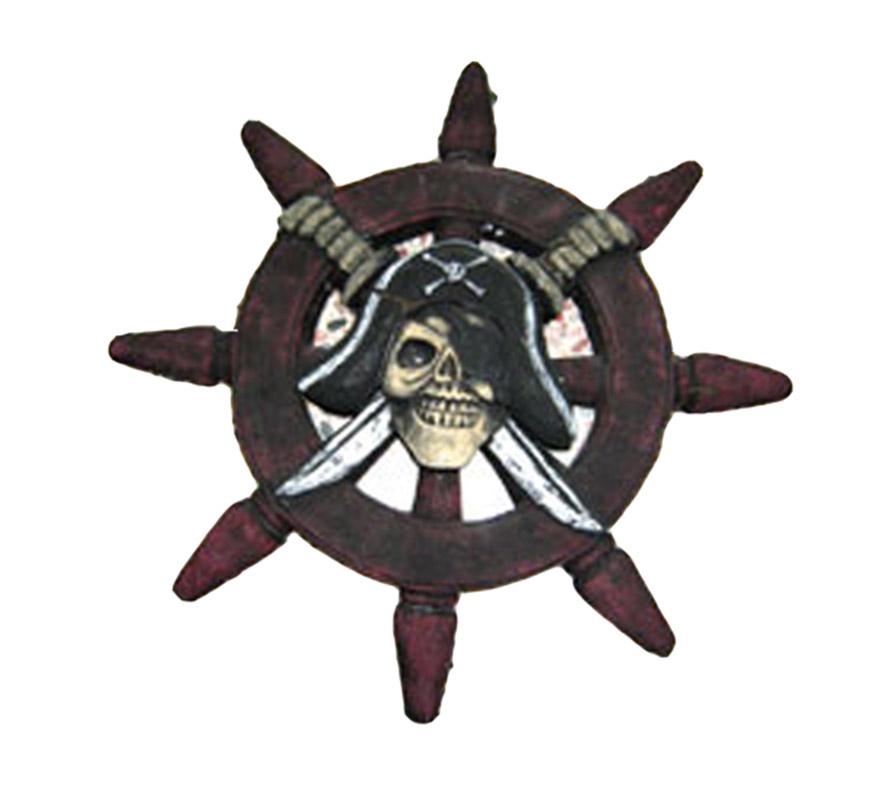 Timón Calavera con ojos intermitentes 54 cm. Éste artículo es perfecto como complemento de los disfraces de Piratas tanto en Carnaval como en Halloween y también queda muy bien si se utiliza como complemento decorativo en las Fiestas de Halloween.