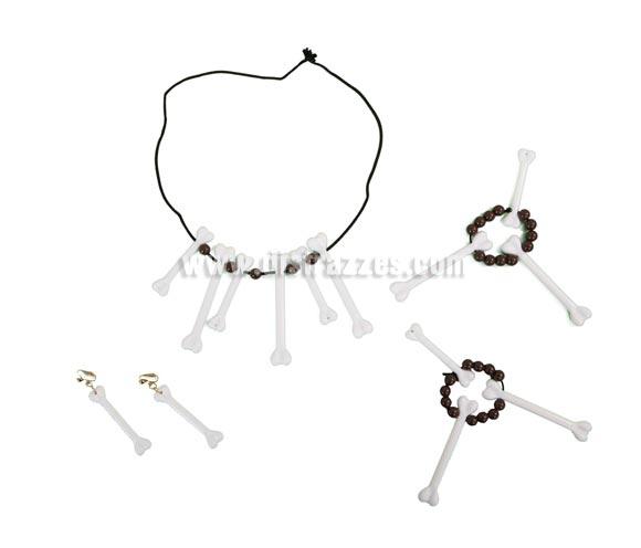 Set huesos. Incluye collar, pendientes y brazalete. El complemento ideal para tu disfraz de Indio, Troglodita o Cavernícola. También como complemento de tu disfraz de Halloween.