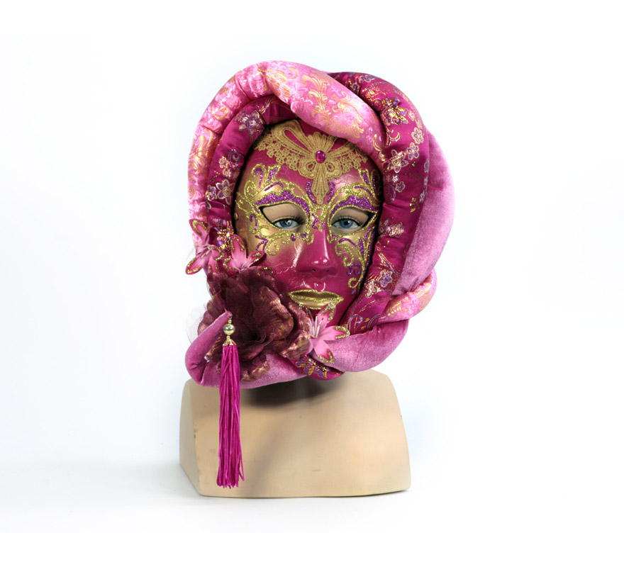 Máscara veneciana anónima rosa/oro. Talla Universal. Máscara Veneciana ideal para disfrazarse en Carnaval incluso en Halloween y dar el golpe con una máscara de Venecia de precio barato. Con ésta máscara Veneciana no te reconocerán y podrás sentir que todos te miran ya que es una máscara que llama la atención.  ¡¡Compra tu máscara Veneciana en nuestra tienda de disfraces, será divertido!!