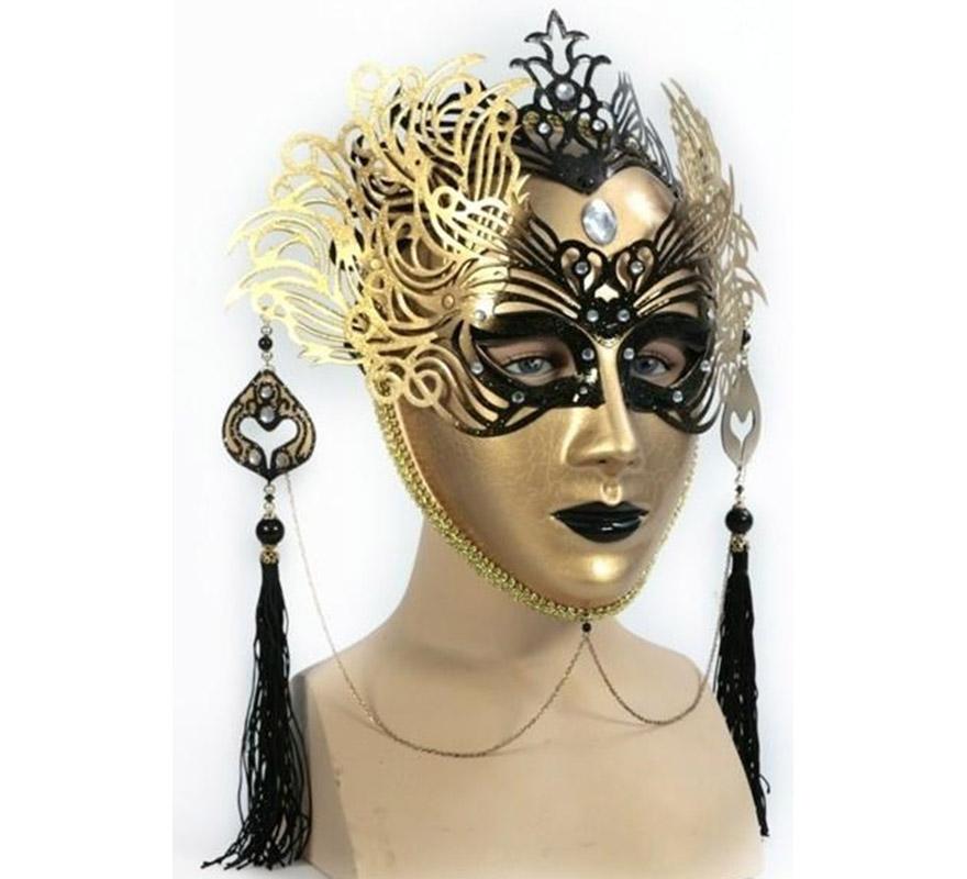 Máscara Veneciana Dorada - Negra. Talla Universal.