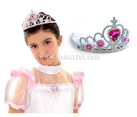 Diadema o Tiara Rosa de plástico para Carnaval.