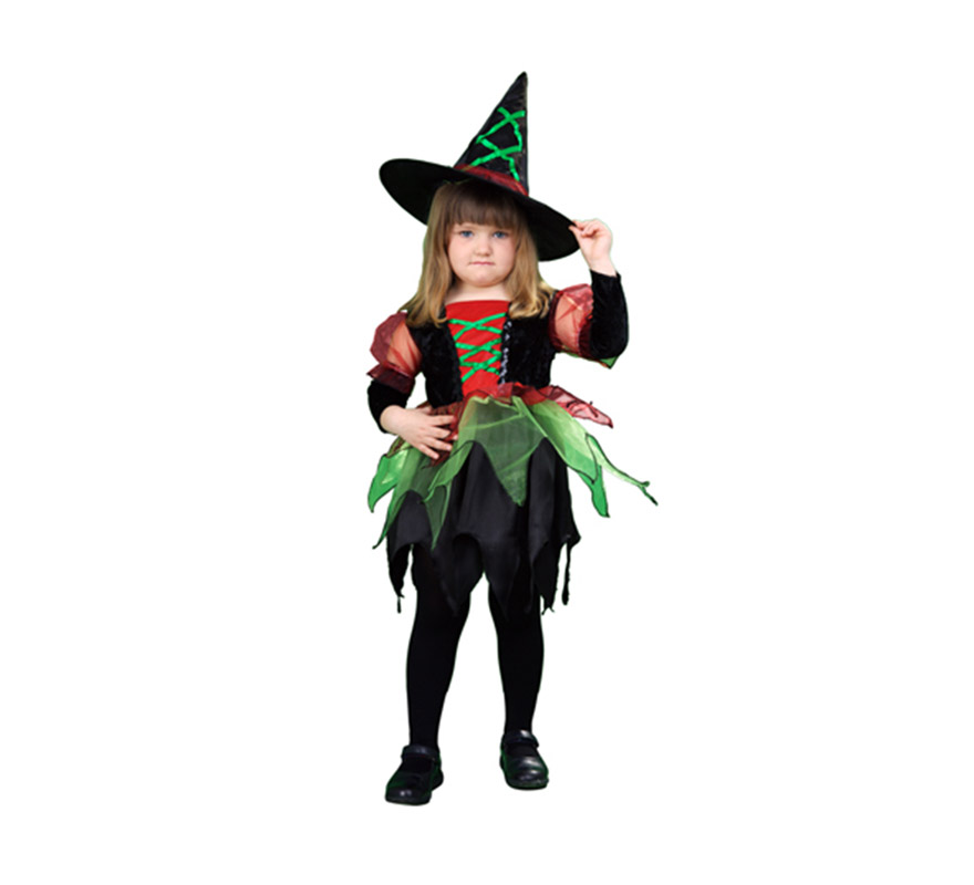 Disfraz de Brujita o Bruja Colores Económico talla de 3 a 4 años. Incluye vestido y sombrero. Escoba NO incluida, podrás verla en la sección de Complementos.