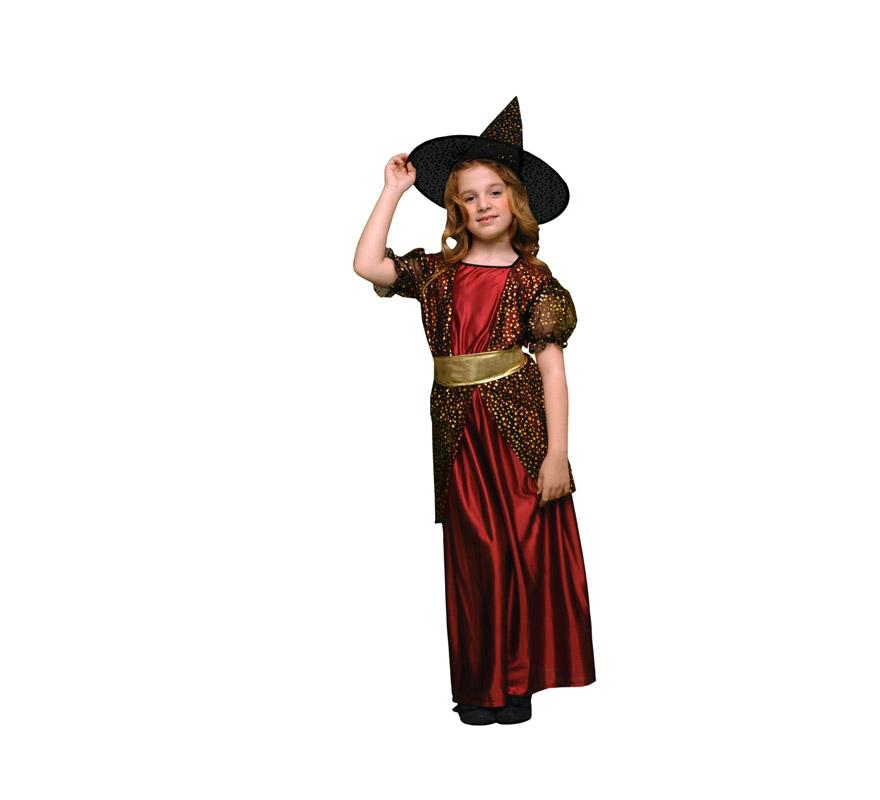 Disfraz de Bruja vestido largo infantil barato para Halloween. Talla de 3 a 4 años. Incluye vestido, sombrero y cinturón.