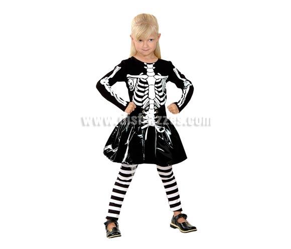 Disfraz Niña Skeleton o Esqueleto de 3-4 años. Incluye camiseta, pantalón y falda.