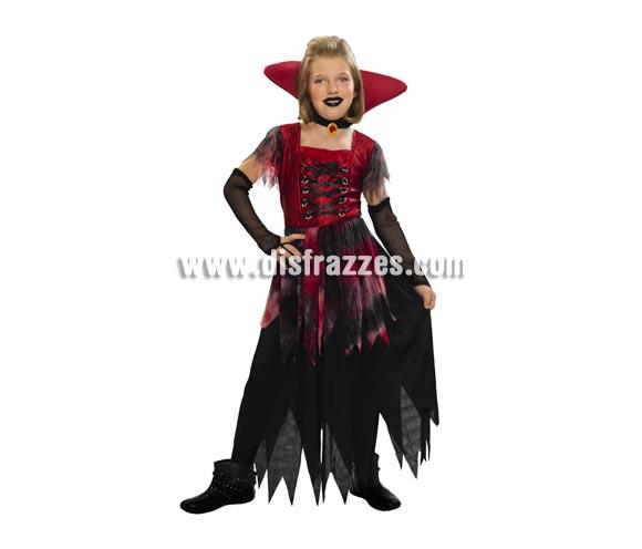 Disfraz de Vampiresa Gótica barato para Halloween. Talla de 2 a 4 años. Incluye vestido, cuello y guantes.