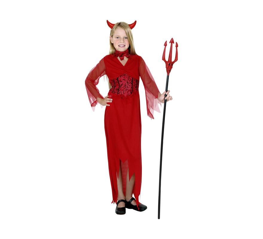 Disfraz de Diablesa barato para Halloween. Talla de 3 a 4 años. Incluye vestido, cuello y tocado. Tridente NO incluido, podrás verlo en la sección de Complementos.