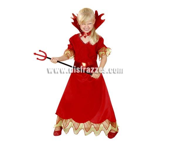 Disfraz de Diablesa barato para Halloween. Talla de 3 a 4 años. Incluye vestido, cinturón y cuello. Tridente NO incluido, podrás verlo en la sección Complementos para Halloween.