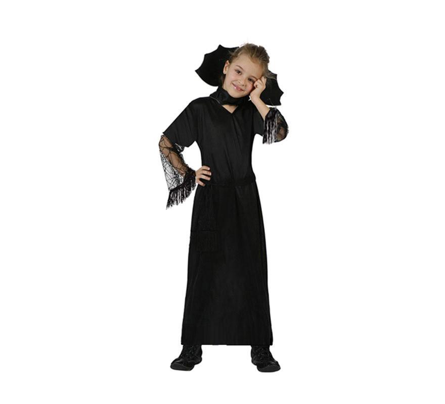 Disfraz de Viuda Negra Económico talla de 4 a 6 años. Incluye vestido, cuello y cinturón.