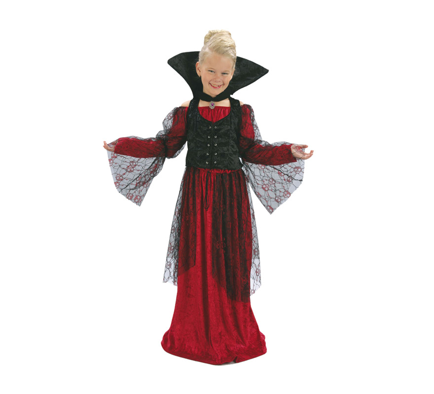 Disfraz de Vampiresa Roja talla de 5 a 6 años. Incluye vestido, chaleco y cuello.