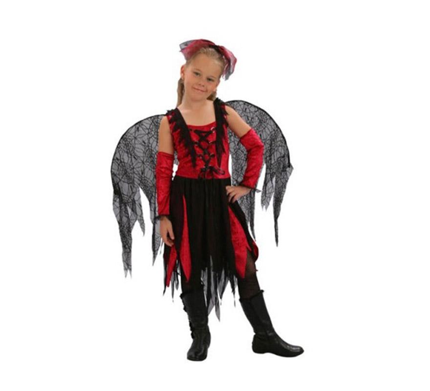 Disfraz de Hada Telarañas barato para Halloween. Talla de 4 a 6 años. Incluye tocado, vestido, alas y manguitos.