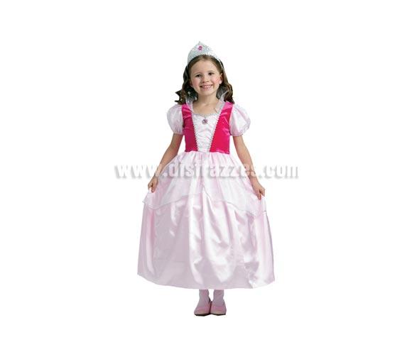 Disfraz de Princesa Rosa niña talla de 5 a 6 años. Incluye vestido y tiara. Disfraz de Dulce Princesa Rosa para niñas de 5 a 6 años.