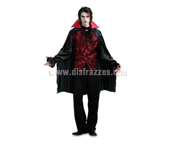 Disfraz de Vampiro Oscuro para hombre. Talla Standar 52/54. Incluye camisa con chorreras cosidas y capa. Alta calidad.