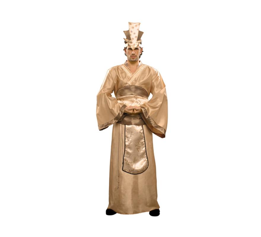 Disfraz de Emperador Chino adulto. Talla Standar M-L 52/54. Incluye corona, kimono y cinturón.