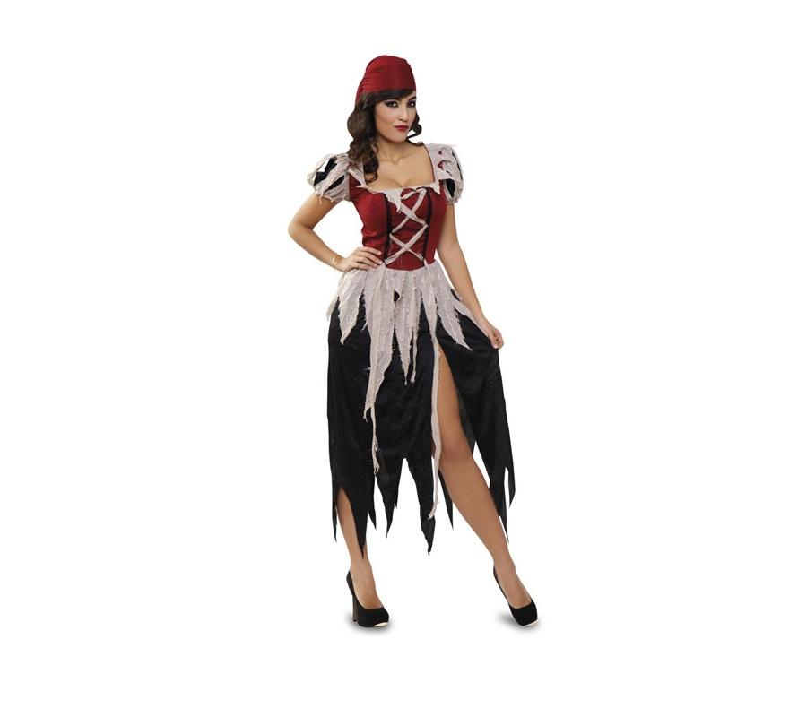 Disfraz de mujer Pirata para chicas. Talla standar M-L = 38/42. Incluye vestido y tocado. Traje de mujer Pirata de una calidad más alta para las chicas que quieran ir con un disfraz mejor y menos visto. Muy buena relación calidad-precio. Éste disfraz es la pareja de la ref. 89839BT. y son disfraces de calidad superior.