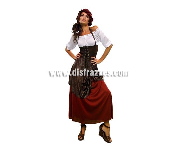 Disfraz de Tabernera o Mesonera Medieval adulta. Talla standar M-L = 38/42. Incluye vestido con chaleco cosido y sombrero. Disfraz de Posadera para mujer.