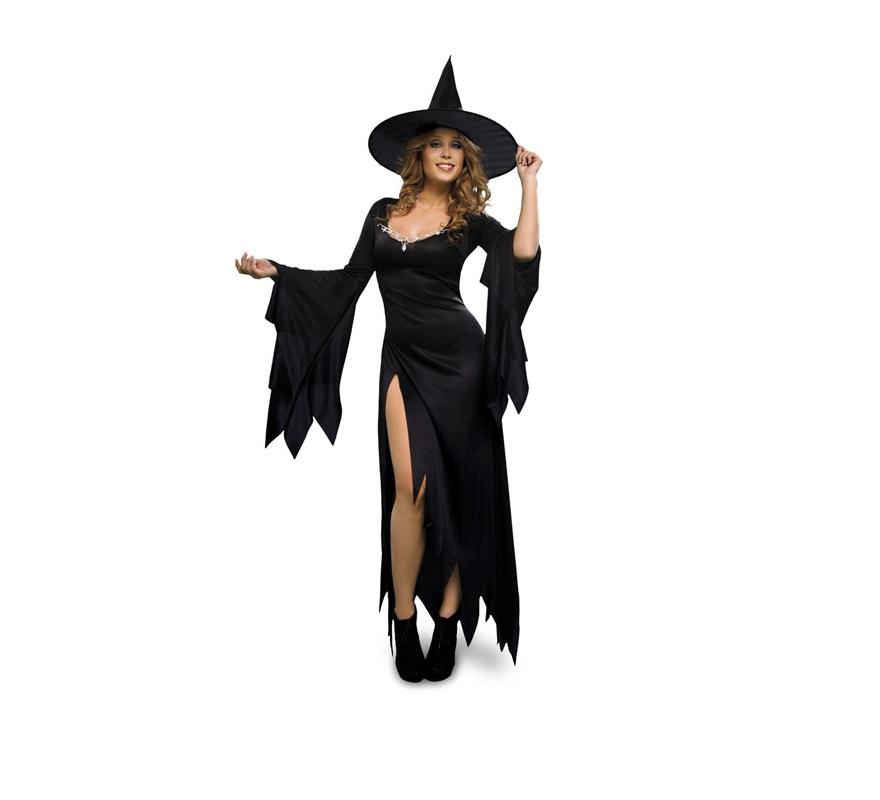 Disfraz de Bruja Mística adulta para Halloween barato. Talla Standar M-L = 38/42. Incluye sombrero y vestido.