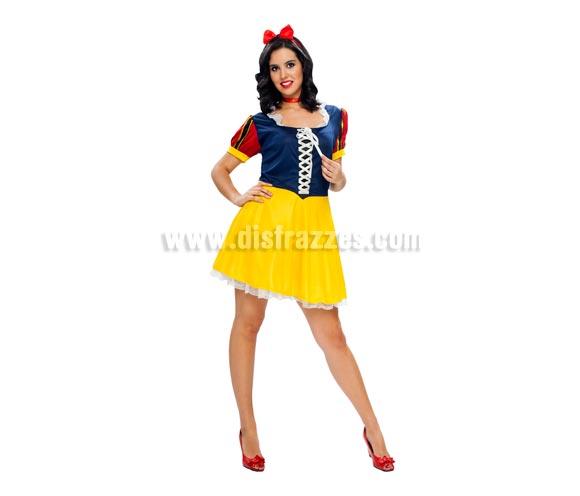 Disfraz barato de Blancanieves Sexy para mujer. Talla standar M-L = 38/42. Incluye diadema, gargantilla y vestido. Un disfraz Super sexy para no pasar despercibida.