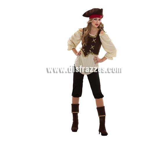 Disfraz barato de Pirata mujer adulta. Talla standar M-L = 38/42. Incluye sombrero, blusa corpiño, pantalón y cubrebotas. Pistola NO incluida, podrás verla en la sección Complementos.