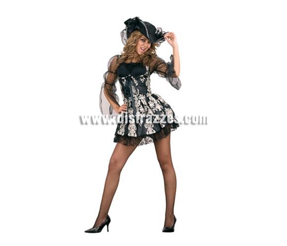 Disfraz barato de Lady Pirata para chicas. Talla standar M-L = 38/42. Incluye sombrero, gargantilla y vestido. Disfraz de Pirata Sexy para mujer. Éste disfraz sinceramente es precioso y hay gente que lo usa en Halloween con un buen maquillaje. ¿Y el precio? ¿te has fijado en el precio?  La pareja de éste disfraz es la ref. 89887BT de Lord Pirata.