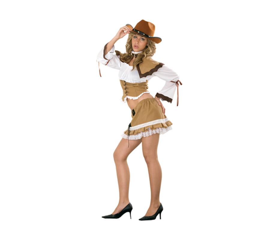 Disfraz de Vaquera Sexy para mujer. Talla standar M-L = 38/42. Incluye capelina, cuerpo y falda. Sombrero NO incluido, podrás verlo en la sección Complementos.
