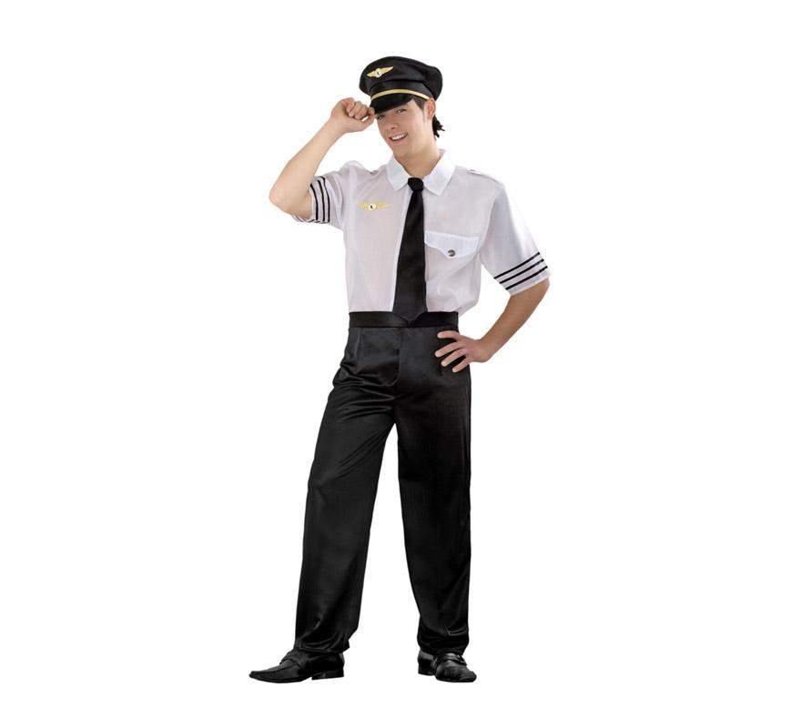 Disfraz de Piloto de Vuelo para hombre. Talla Standar M-L = 52/54. Incluye gorra, camisa, corbata y pantalones. Disfraz de Piloto de avión para hombre.