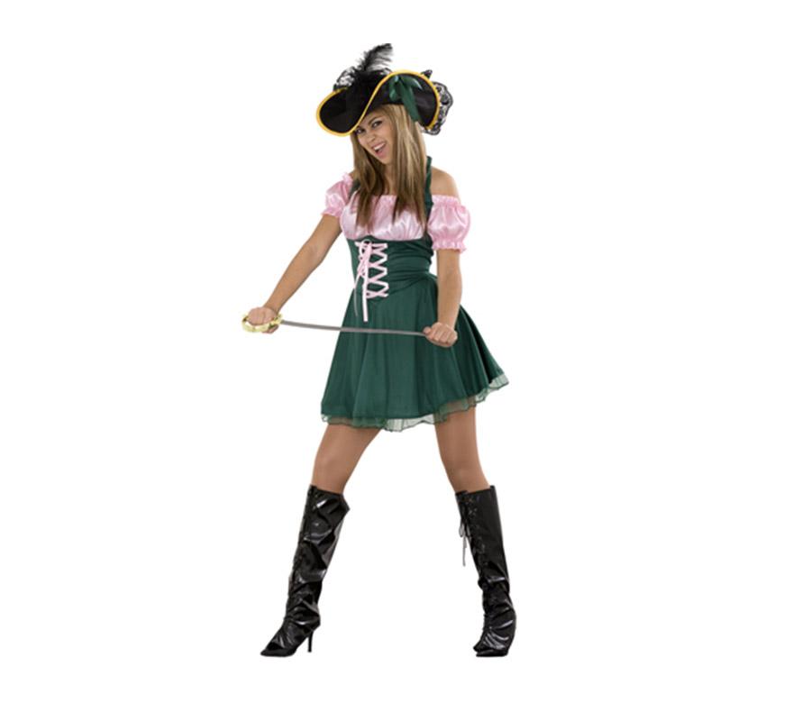 Disfraz de Dama Pirata Sexy adulta. Talla Standar M-L 38/42. Incluye sombrero y vestido. Espada NO incluida, podrás verla en la sección de Complementos.