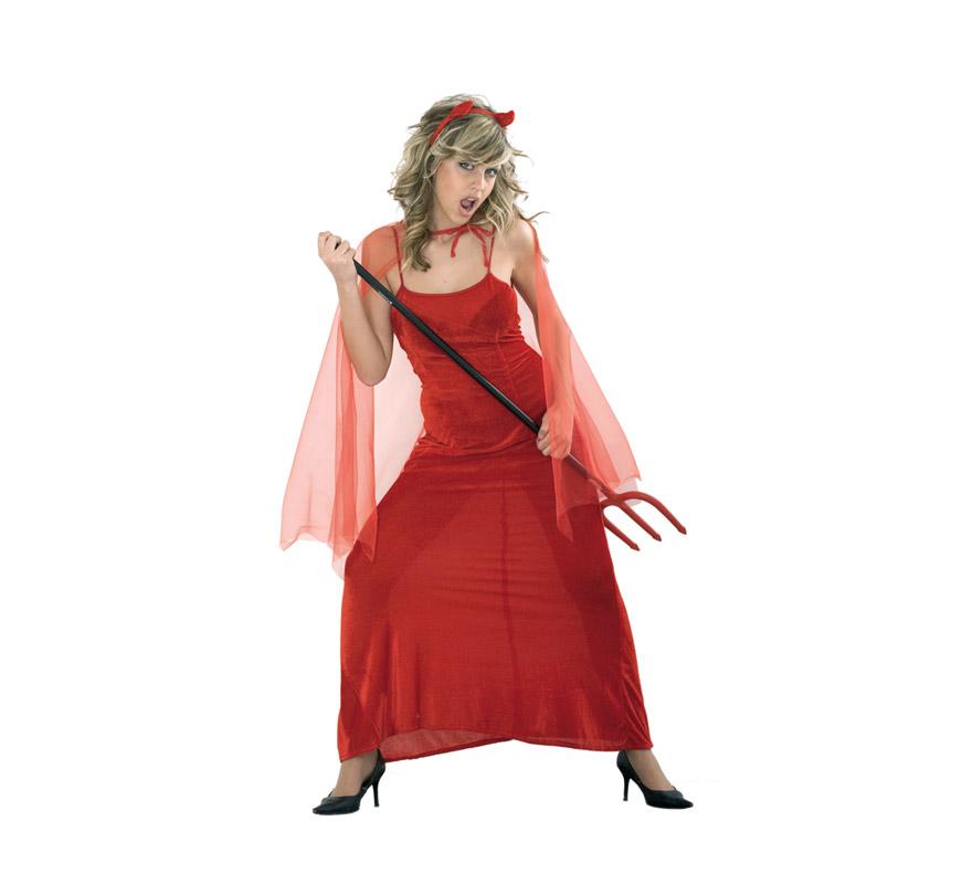 Disfraz de Diablesa Adulta Económico. Talla Standar M-L = 38/42. Incluye vestido, capa y cuernos. Tridente NO incluido, podrás verlo en la sección de Complementos. Disfraz de Demonia para mujer.