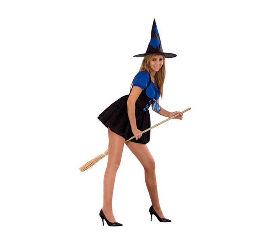 Disfraz de Bruja Sexy azul adulta para Halloween barato. Talla Standar M-L = 38/42. Incluye sombrero y vestido. Escoba NO incluida, podrás verla en la sección Complementos.