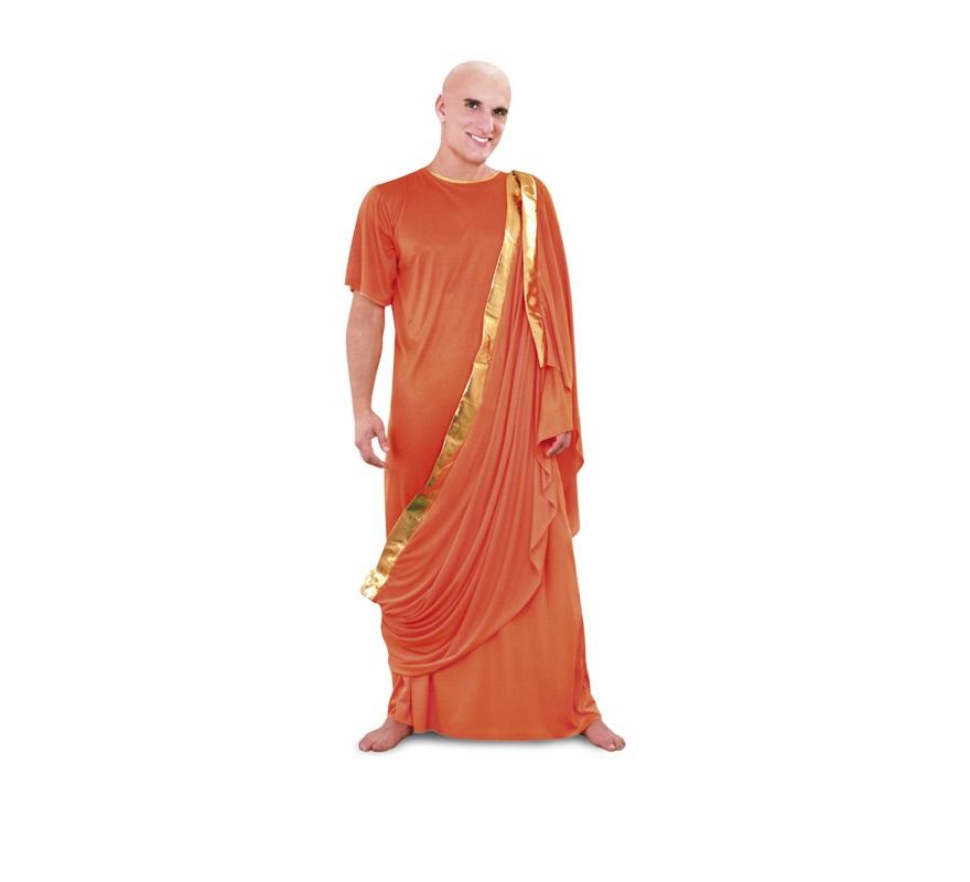 Disfraz de Monje Tibetano adulto. Disfraz de Hare Krishna, Buda o Budista. Talla standar M-L 52/54. Calva NO incluida, podrás verla en la sección Pelucas.