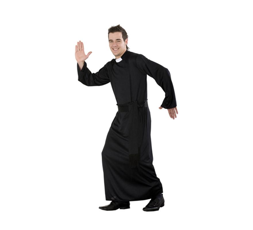 Disfraz barato de Cura adulto. Talla Standar M-L = 52/54. Incluye túnica con cuello y Fajín. Un disfraz ideal para Despedidas de Soltero y para Peñas y Grupos.