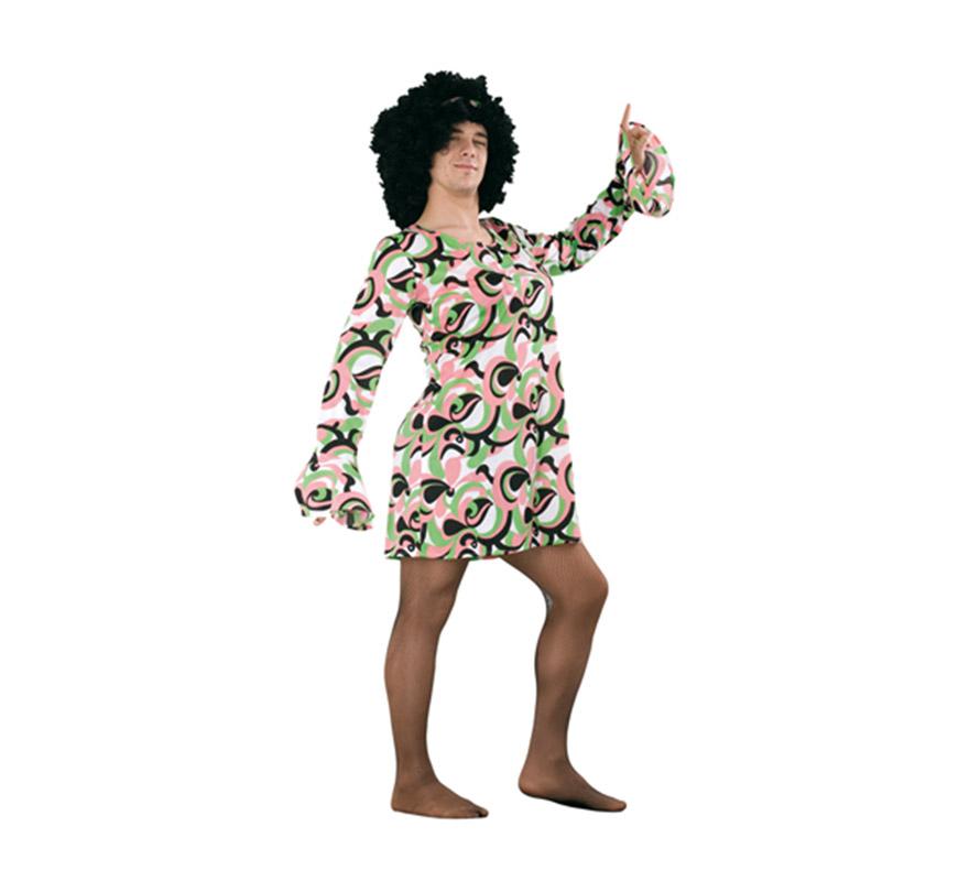 Disfraz o Vestido verde y rosa años 70 para hombre. Talla Standar M-L 52/54. Incluye vestido. Peluca NO incluida, podrás verla en la sección de Complementos. Perfecto y muy cachondo para Despedidas de Soltero o para cualquier ocasión o fiesta.