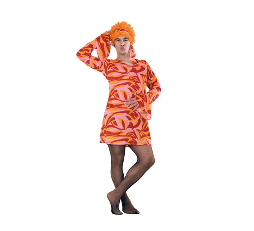 Disfraz o Vestido rojo y naranja años 70 para hombre. Talla Standar M-L 52/54. Incluye vestido. Peluca NO incluida, podrás verla en la sección de Complementos. Perfecto y muy cachondo para Despedidas de Soltero o para cualquier ocasión o fiesta.