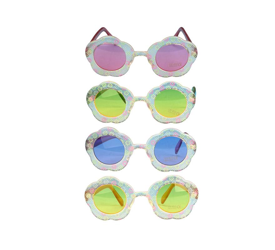 Gafas Hippies o Flower Power en forma de flor. Hay 4 colores surtidos, precio por unidad, se venden por separado.