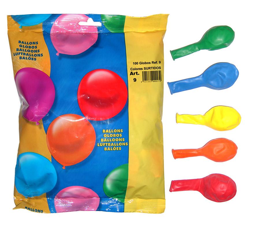 Bolsa de 100 globos 24 cm. de colores surtidos de la marca Gran Festival.