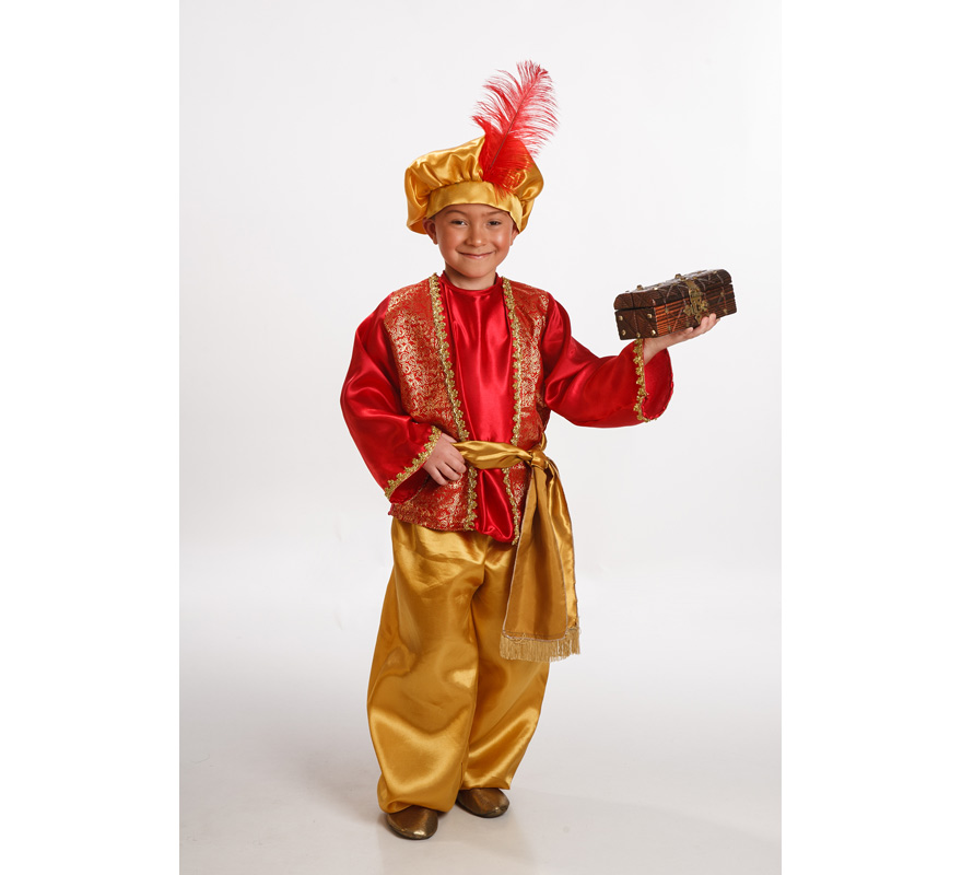 Disfraz de Paje Real Rojo para Niño de 9 a 11 años.  Perfecto disfraz para representaciones teatrales,de belenes o cabalgatas en Navidad. También puede servir como disfraz de árabe o de Aladino o Simbad. Se compone de Casaca, Pantalón, Cinturón y Gorra.